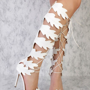 a98d704d4 Shoes - White Swirl Cut Out Detailing Peep Toe Gladiator S